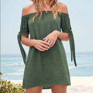 Lulu's Olive Green Off the Shoulder Dress - XS